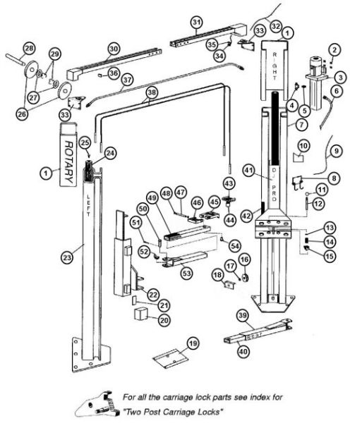 parts breakdown for rotary model a10i 2 post lift  svi