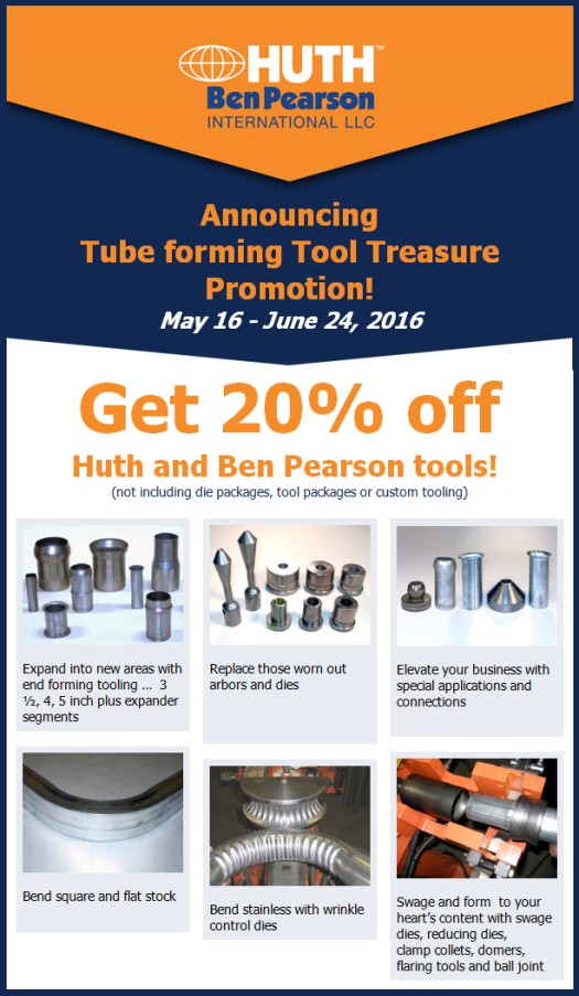20% off of Huth and Ben Pearson Tooling