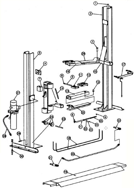 parts breakdown for rotary lift model sp94  svi