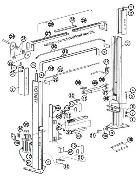 Rotary Lift Cylinder Parts : Parts breakdown for rotary model spo lift svi
