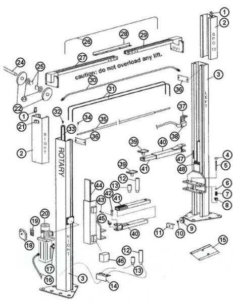 Parts Breakdown For Rotary Model Spo12 Lift  Svi