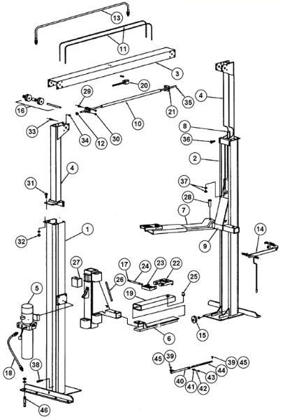 parts breakdown for rotary lift model spo84  svi international