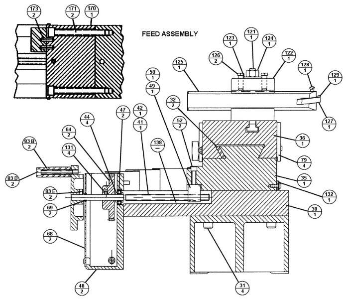 brake lathe parts breakdown  for accuturn model 8922  feed