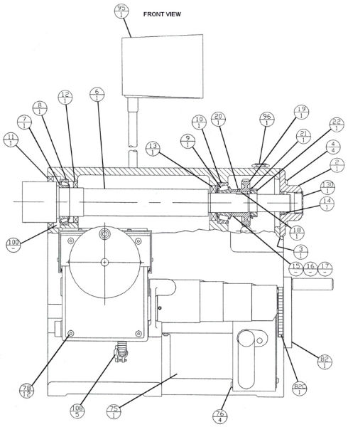 Brake Lathe Parts Breakdown, for Accuturn model 8922, Front View ...