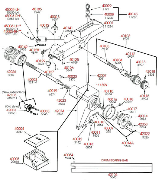 Brake Lathe Parts Breakdown, Cross Feed Assembly, Ammco 4000 and Rels ...